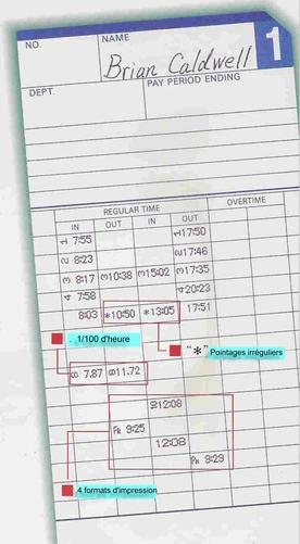 Fiche et carte de pointage pour pointeuse QR350, QR550 et QR6560